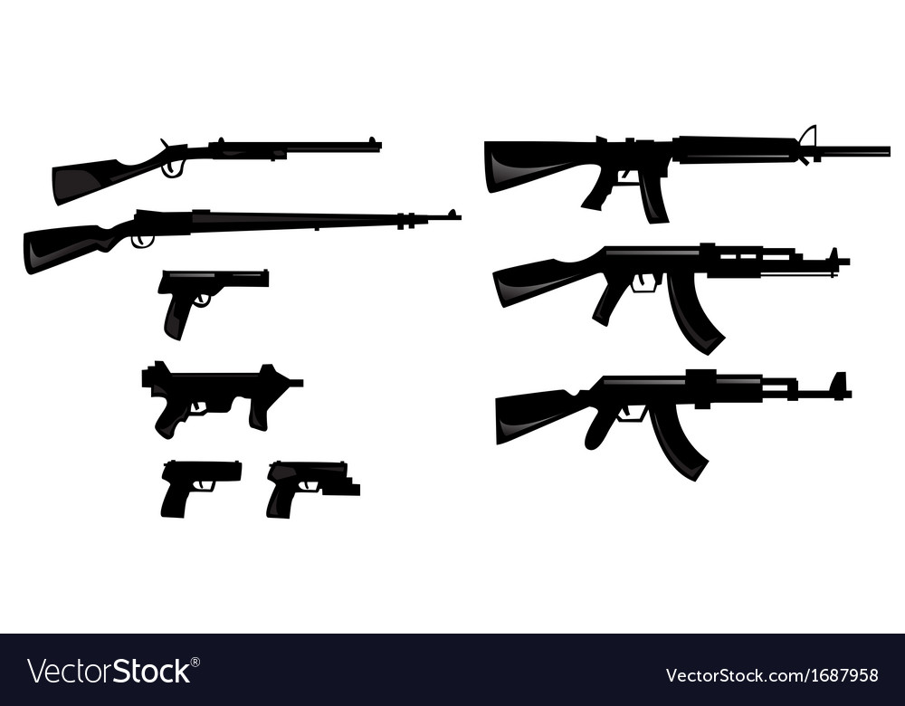 Gun silhouettes vector | Price: 1 Credit (USD $1)