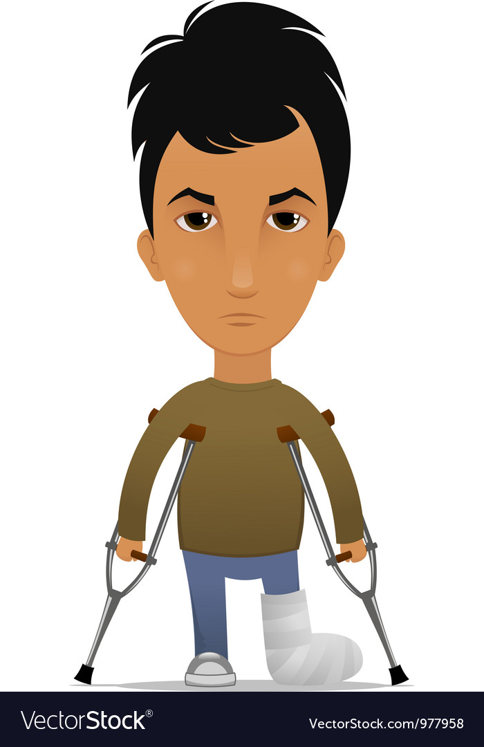 Guy with a leg fracture vector | Price: 3 Credit (USD $3)