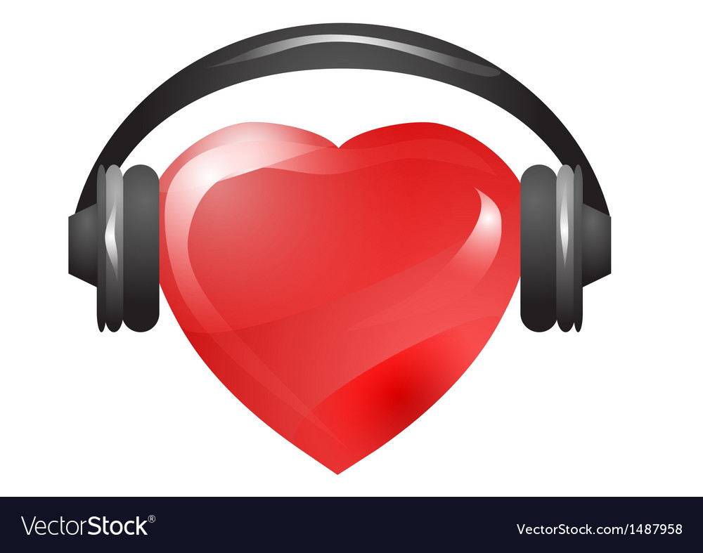Heart with headphones vector | Price: 1 Credit (USD $1)