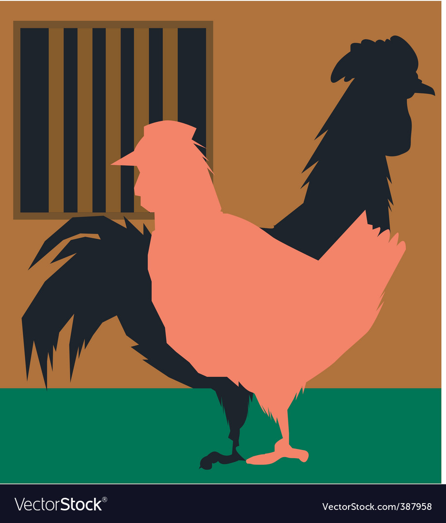 Hen and cock vector | Price: 1 Credit (USD $1)