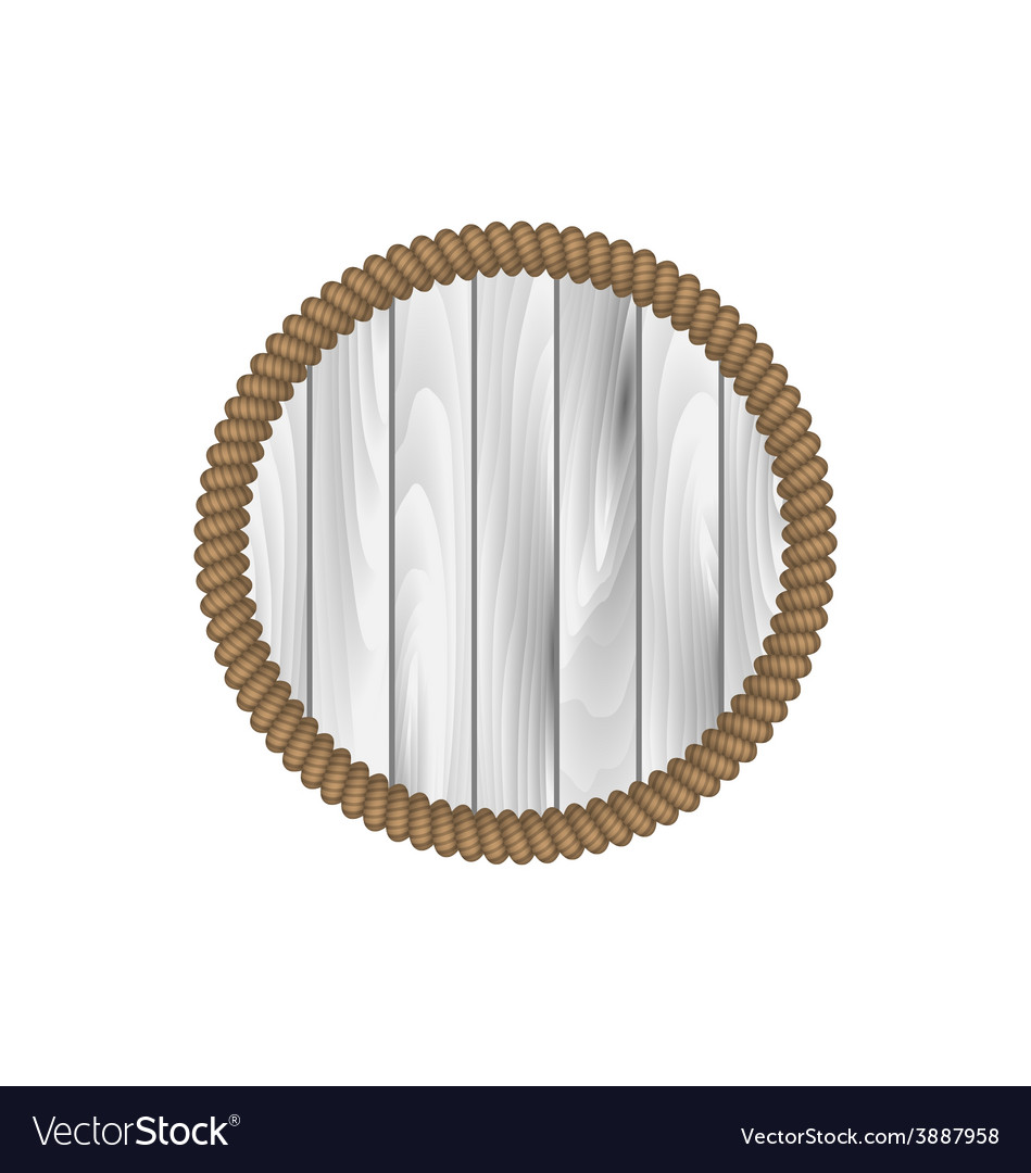 Round wooden frame with rope isolated on white vector | Price: 1 Credit (USD $1)
