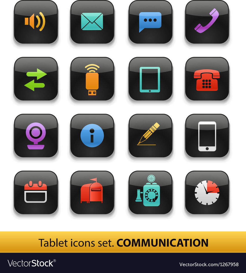 Tablet buttons collection isolated vector | Price: 1 Credit (USD $1)