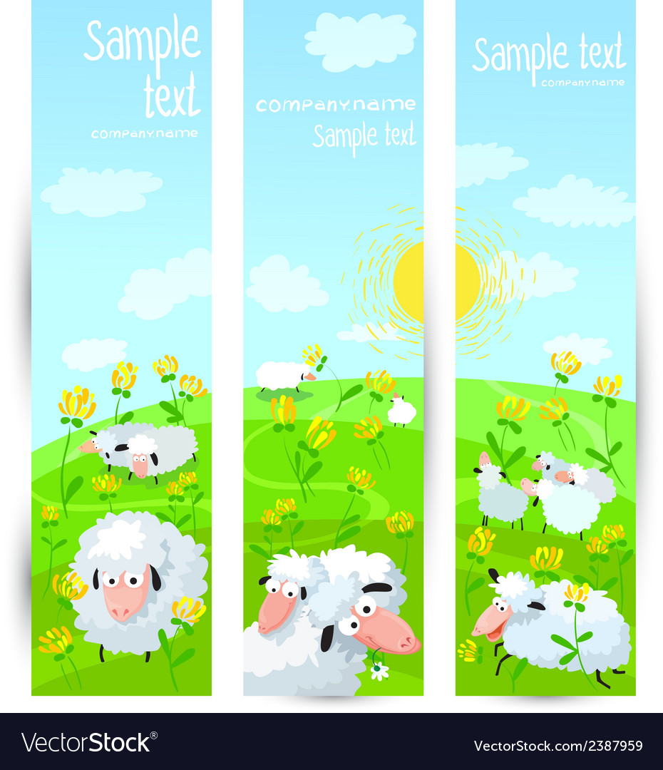 Banners with sheeps vector | Price: 1 Credit (USD $1)