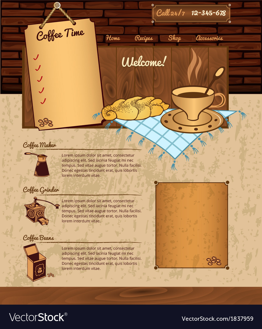 Coffee theme for web site vector | Price: 1 Credit (USD $1)