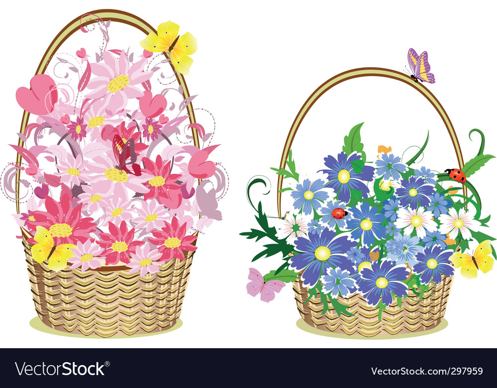 Flower baskets vector | Price: 1 Credit (USD $1)