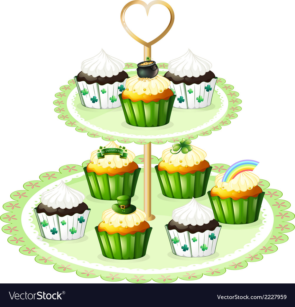 Green cupcakes with a stand vector | Price: 1 Credit (USD $1)