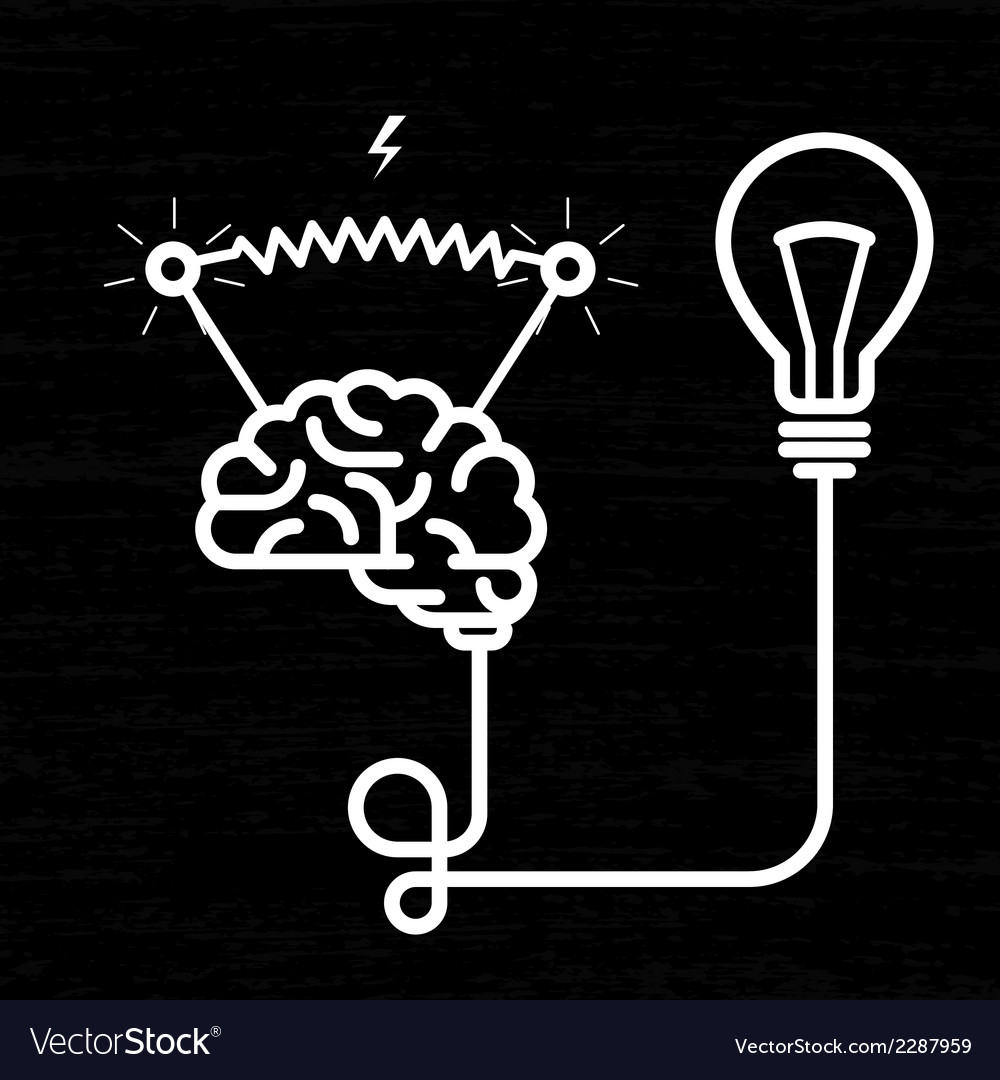 Invention - electricity of brain light bulb and vector | Price: 1 Credit (USD $1)