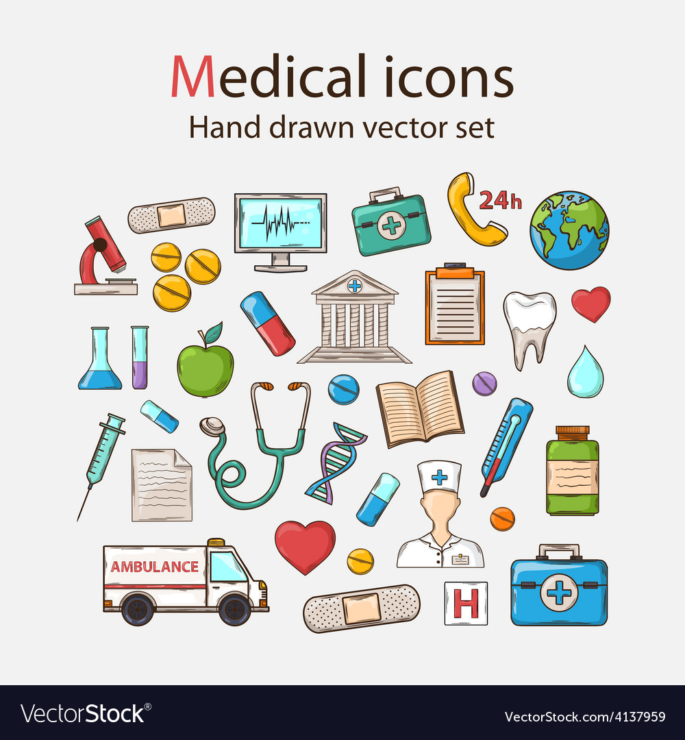 Medical doddle icon set vector | Price: 1 Credit (USD $1)