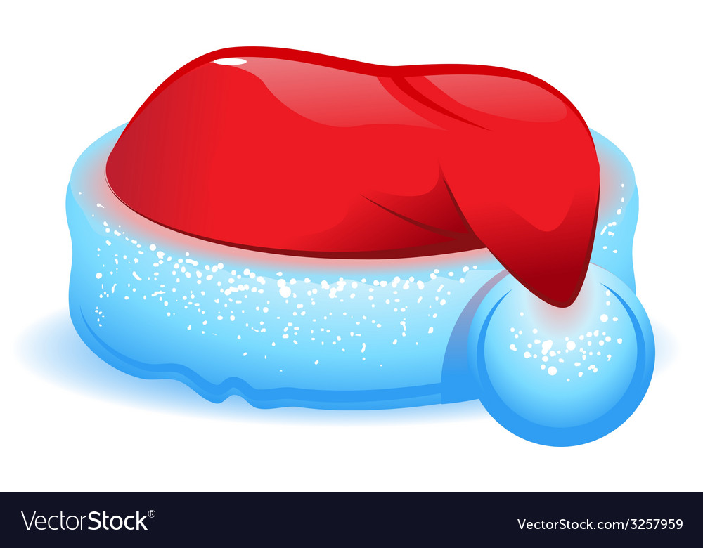 Red christmas hat with blue trim vector   Price: 1 Credit (USD $1)