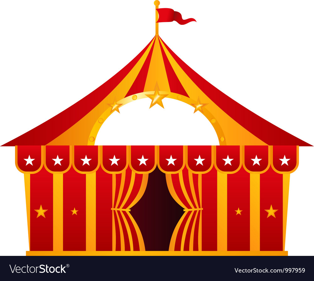 Red circus tent isolated on white vector | Price: 1 Credit (USD $1)