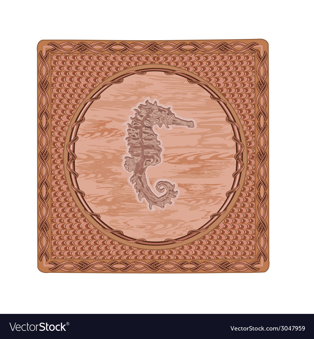 Seahorse fish woodcut button vintage vector | Price: 1 Credit (USD $1)