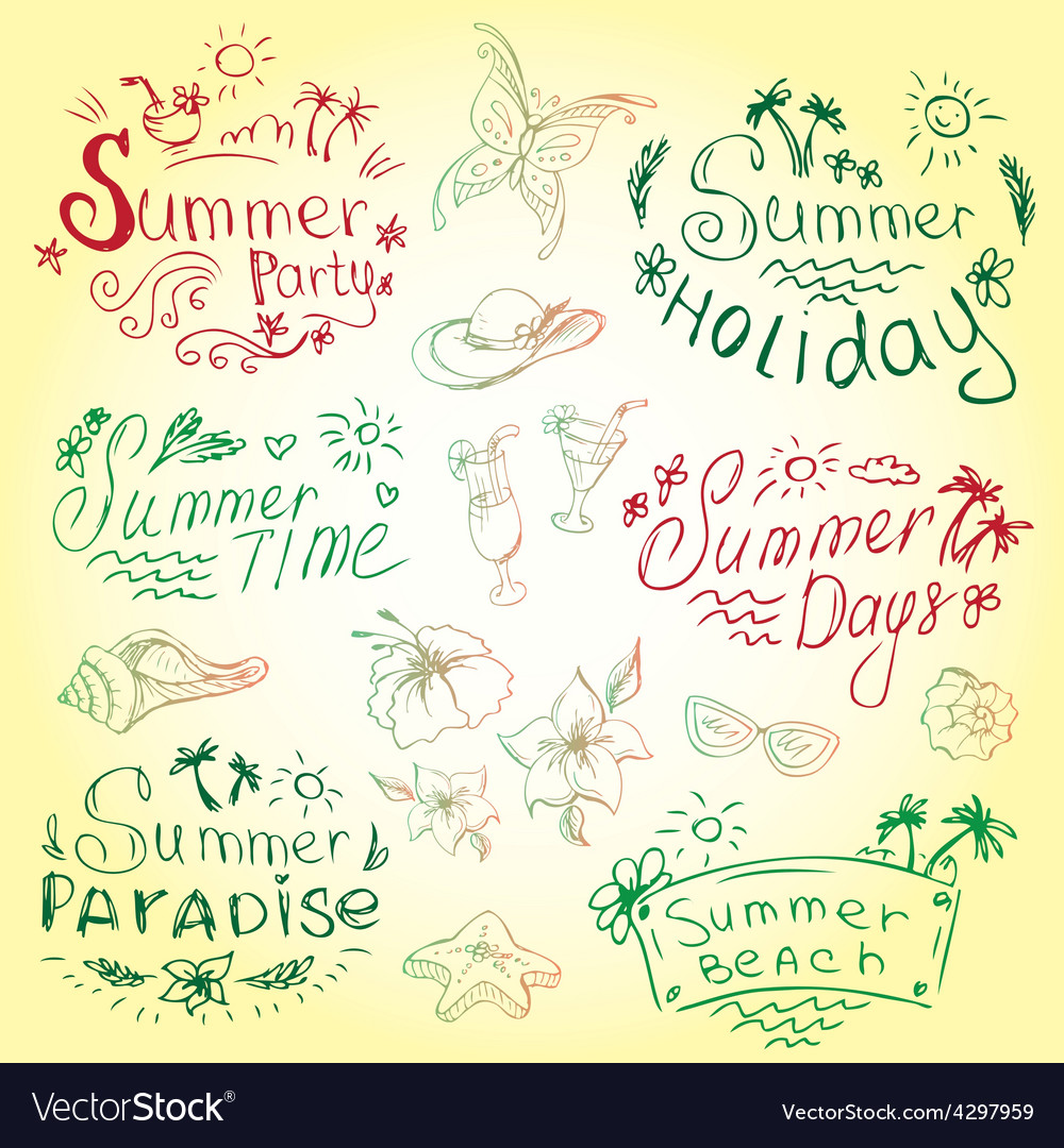 Set of summer travel and vacation emblems vector | Price: 1 Credit (USD $1)