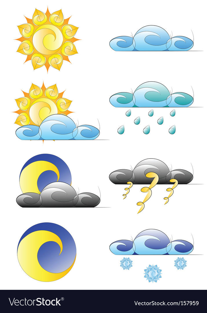 Set of weather climate icons vector | Price: 1 Credit (USD $1)