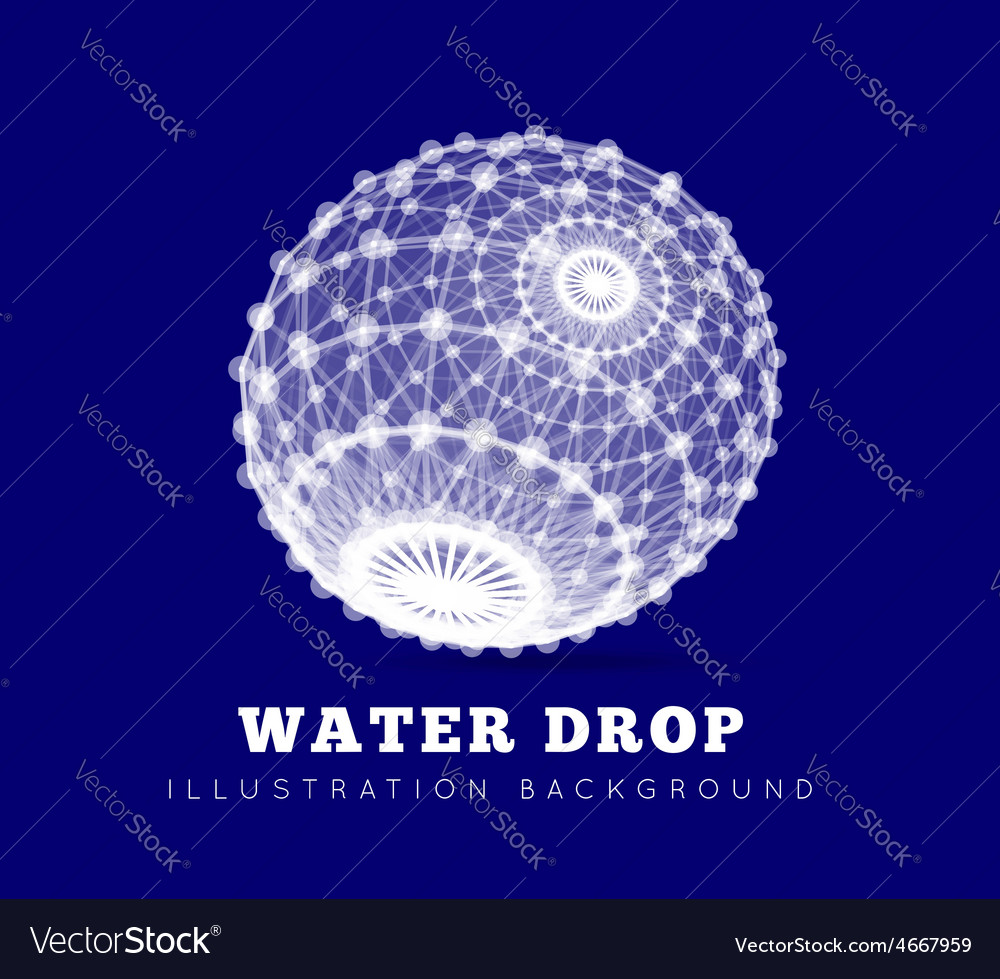 Spherical drop of water on a blue background vector | Price: 1 Credit (USD $1)