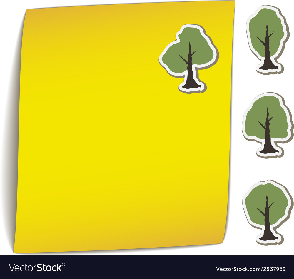Yellow bend paper with tree magnet vector | Price: 1 Credit (USD $1)
