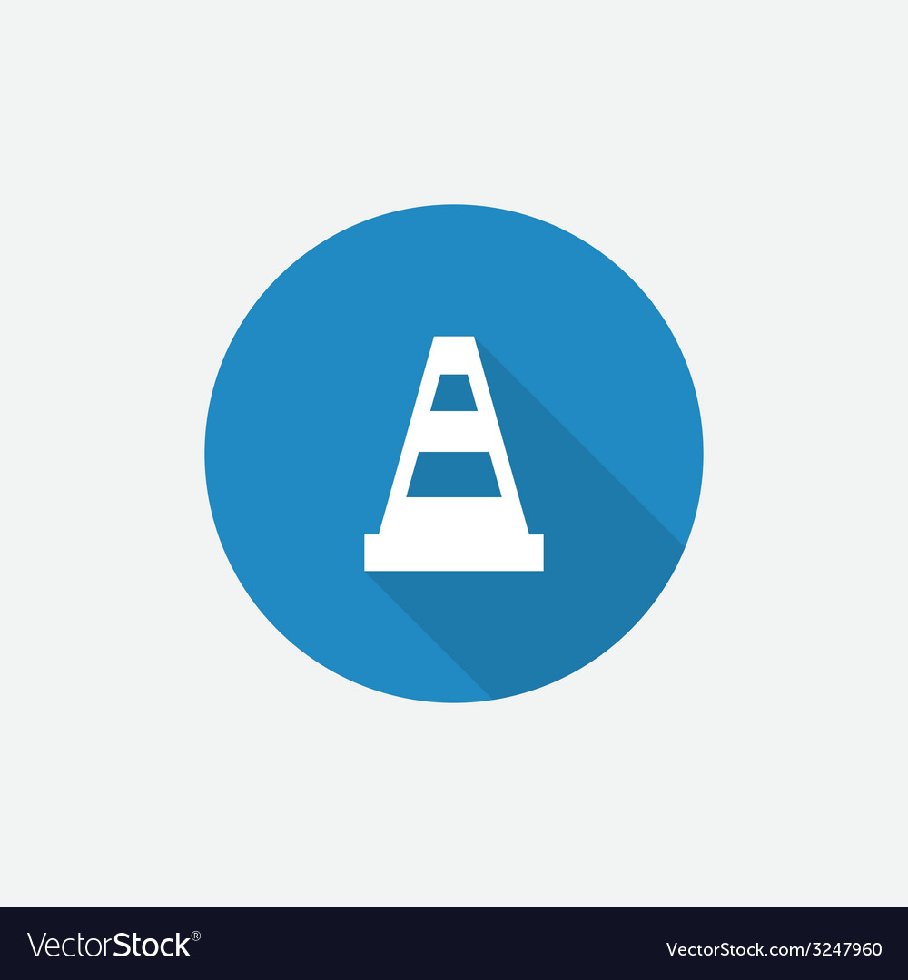 Construction cone flat blue simple icon with long vector | Price: 1 Credit (USD $1)