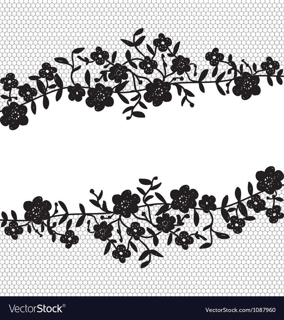 Floral lace border vector   Price: 1 Credit (USD $1)