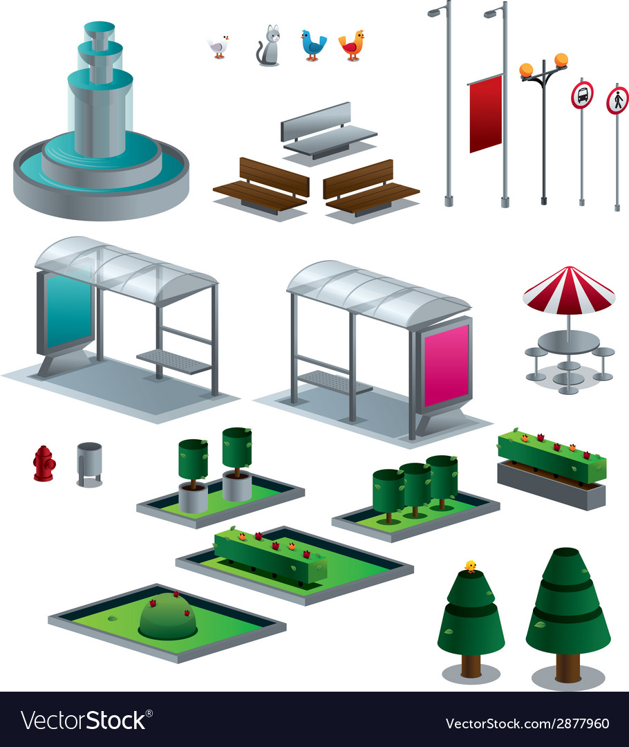 Objects of the city isolated isometric set vector | Price: 1 Credit (USD $1)