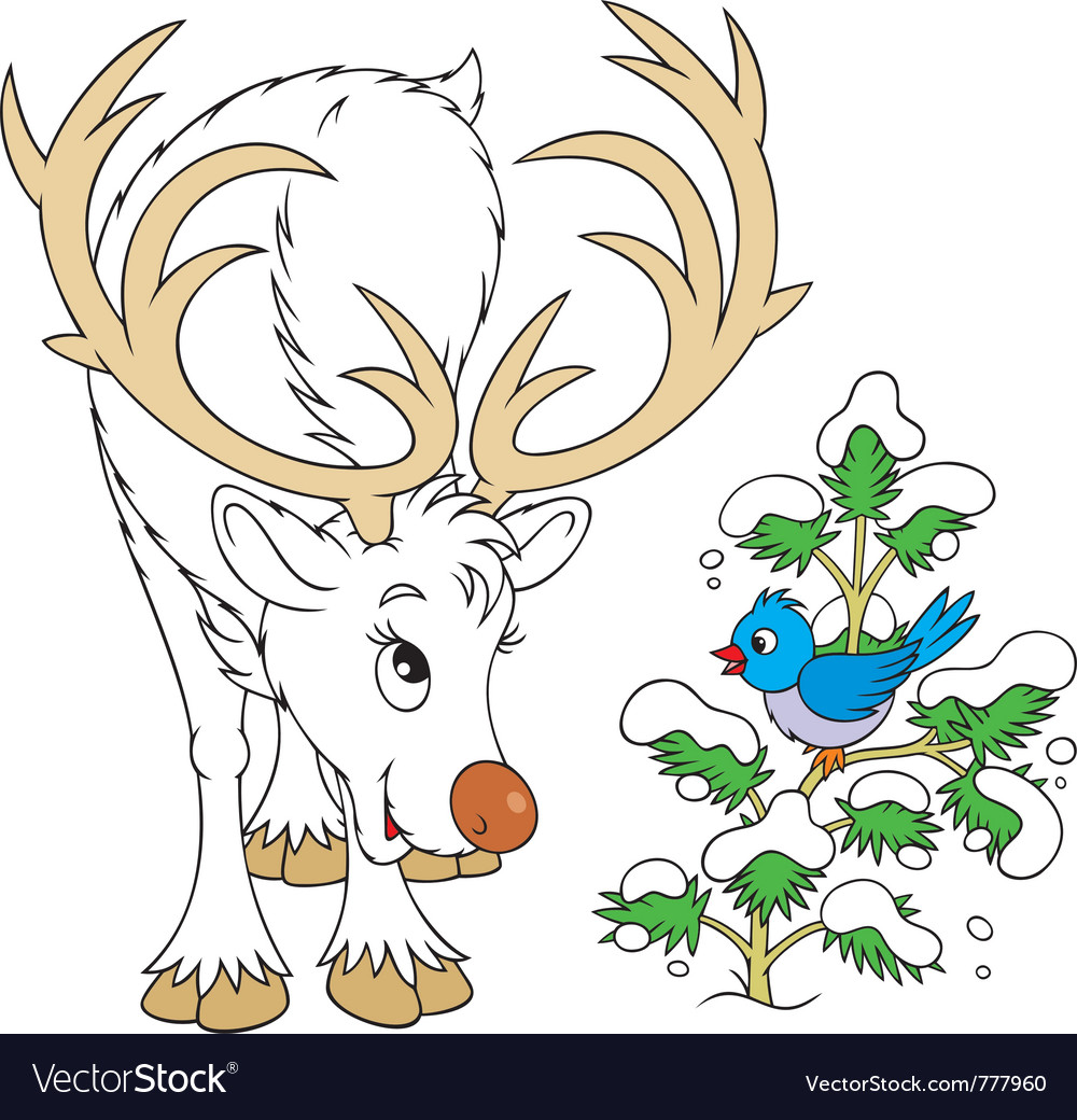 Reindeer and bird vector | Price: 3 Credit (USD $3)