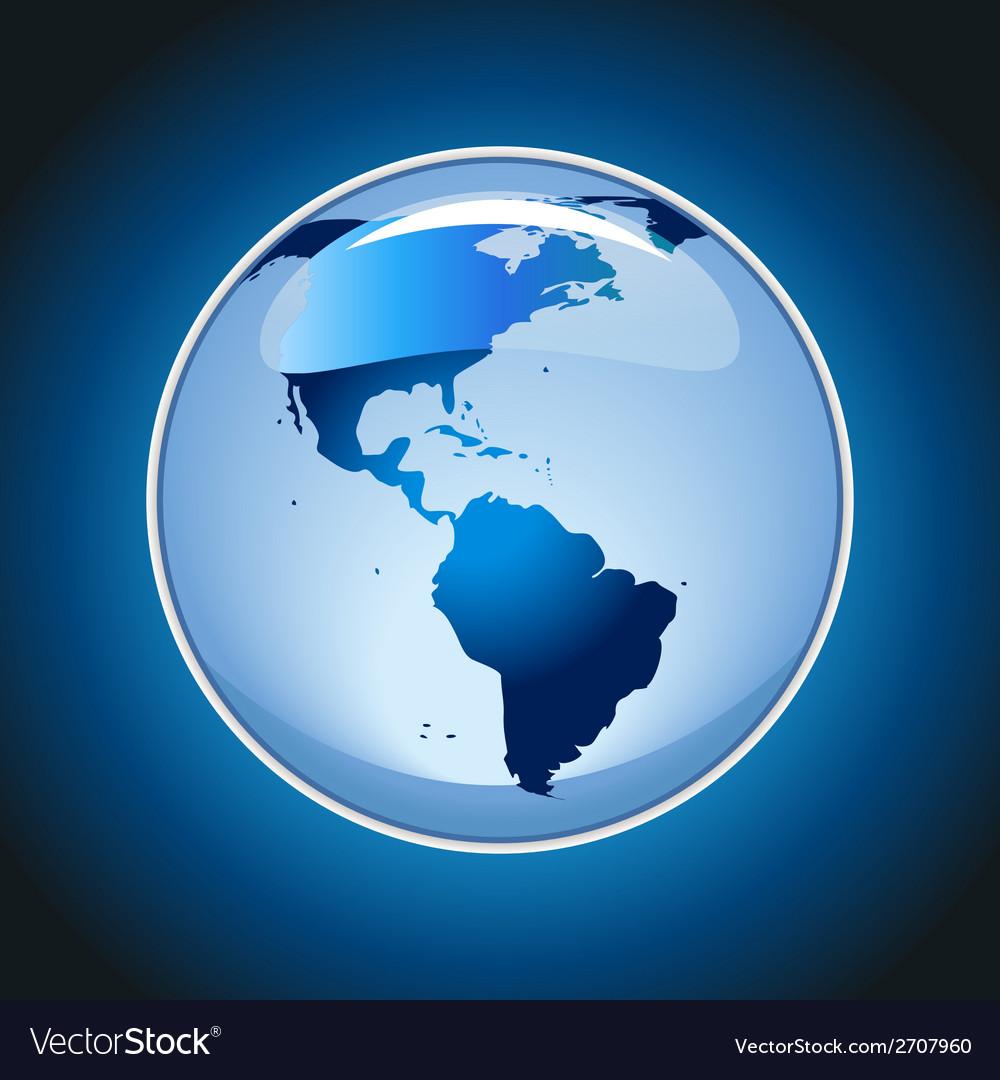 Shiny globe on blue background vector | Price: 1 Credit (USD $1)