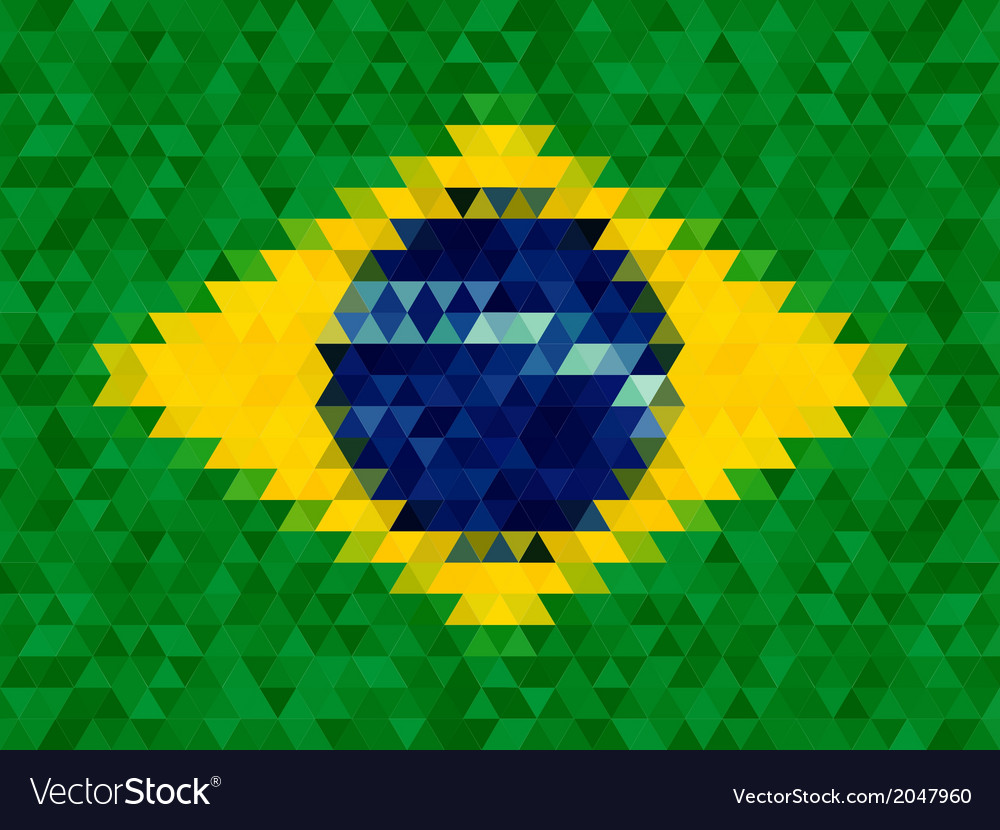 Triangle geometric background brazil flag concept vector | Price: 1 Credit (USD $1)
