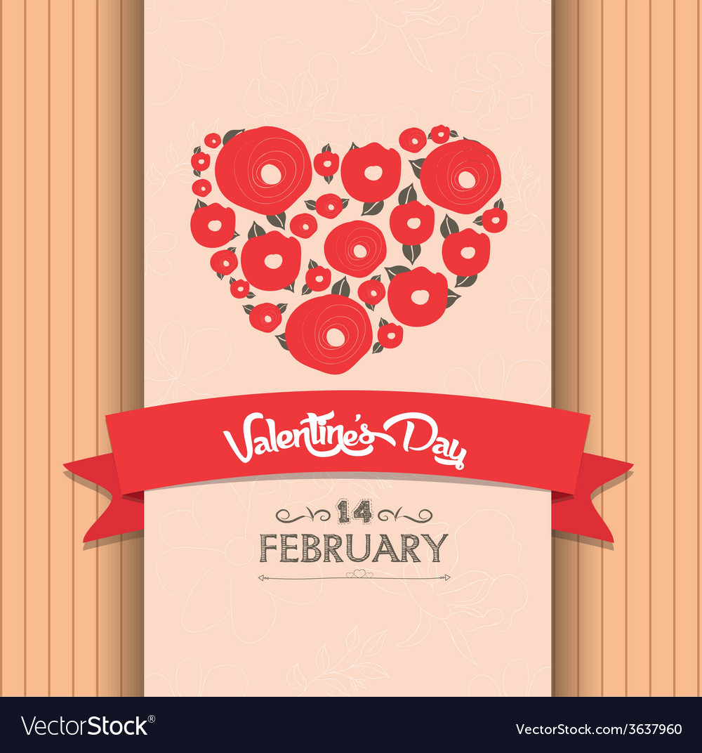Valentines day greeting poster vector | Price: 1 Credit (USD $1)