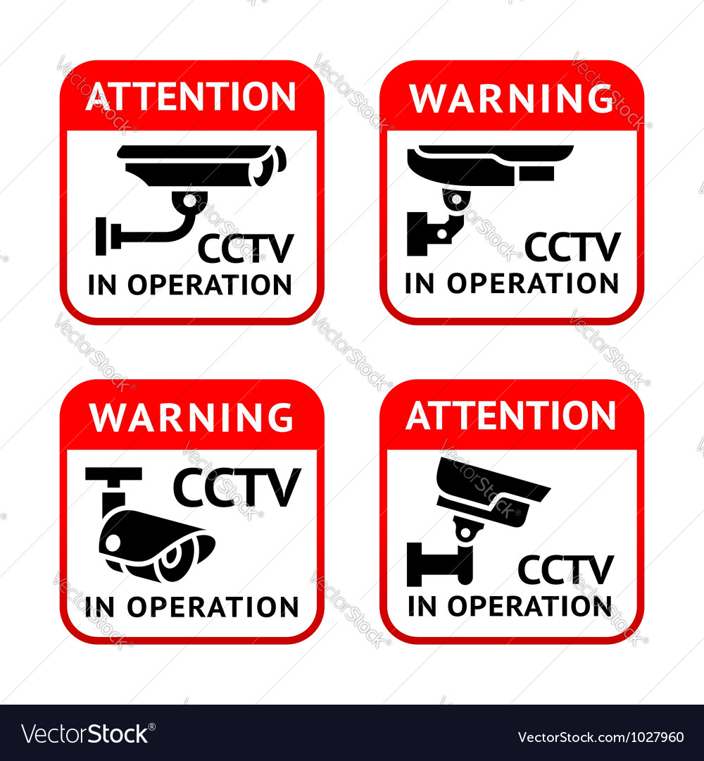 Video surveillance signs set vector | Price: 1 Credit (USD $1)