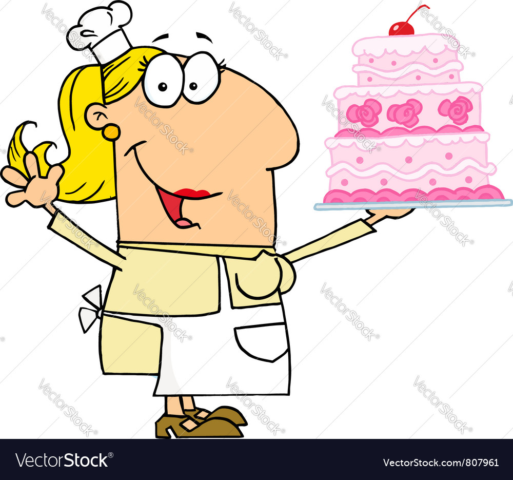 Caucasian cartoon cake maker woman vector | Price: 1 Credit (USD $1)