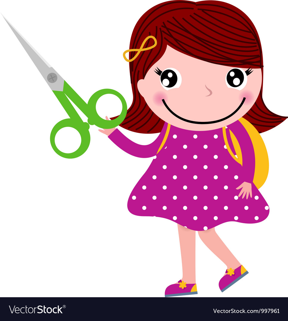 Creative girl with scissors isolated on white vector | Price: 1 Credit (USD $1)