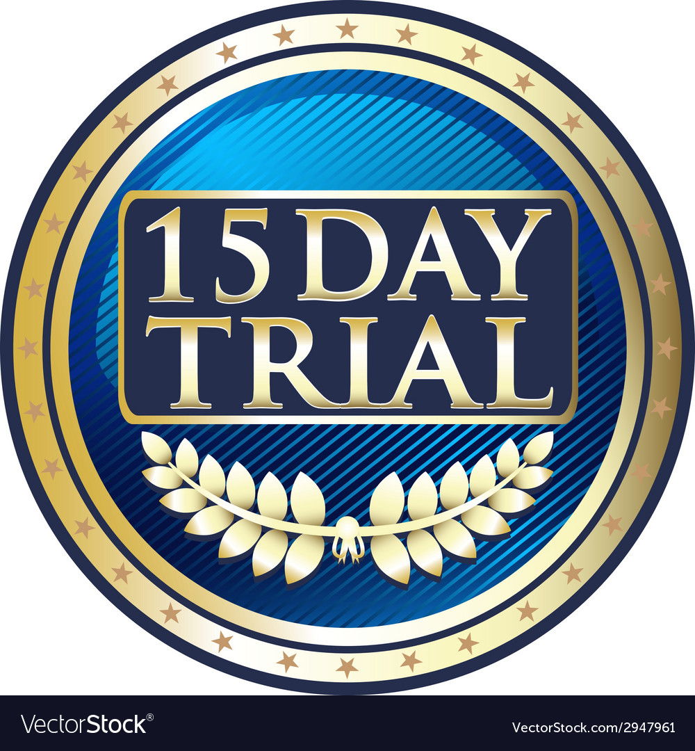 Fifteen day trial blue label vector | Price: 1 Credit (USD $1)