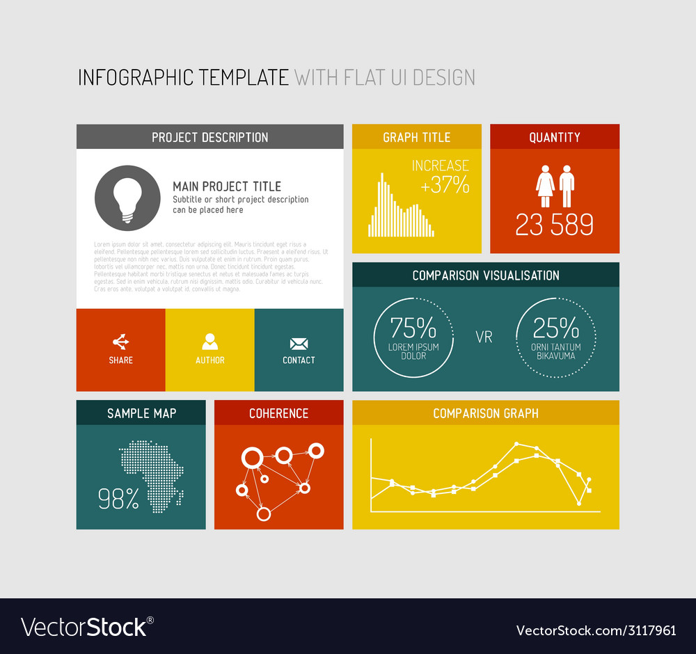 Flat user interface infographic vector | Price: 1 Credit (USD $1)