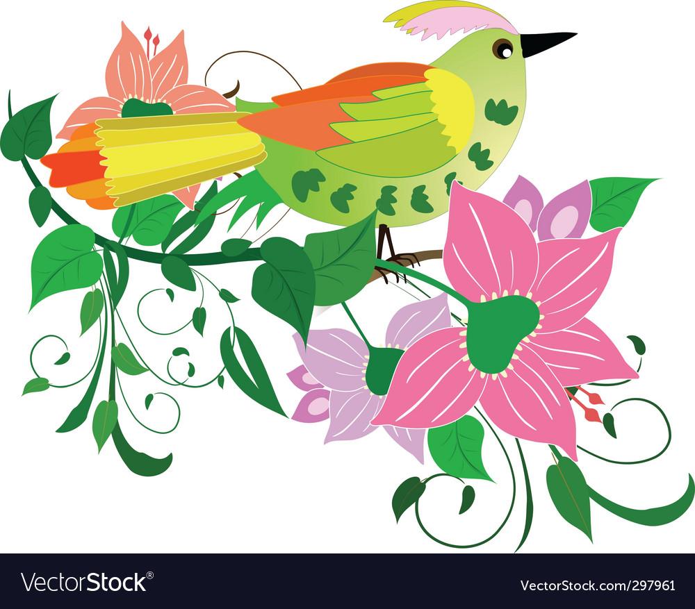 Flower bird vector | Price: 1 Credit (USD $1)