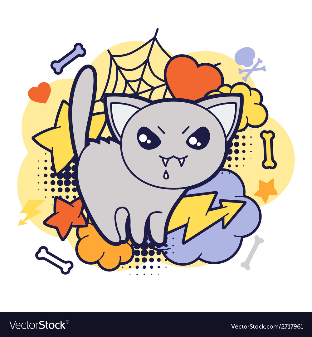 Halloween kawaii print or card with cute doodle vector   Price: 1 Credit (USD $1)
