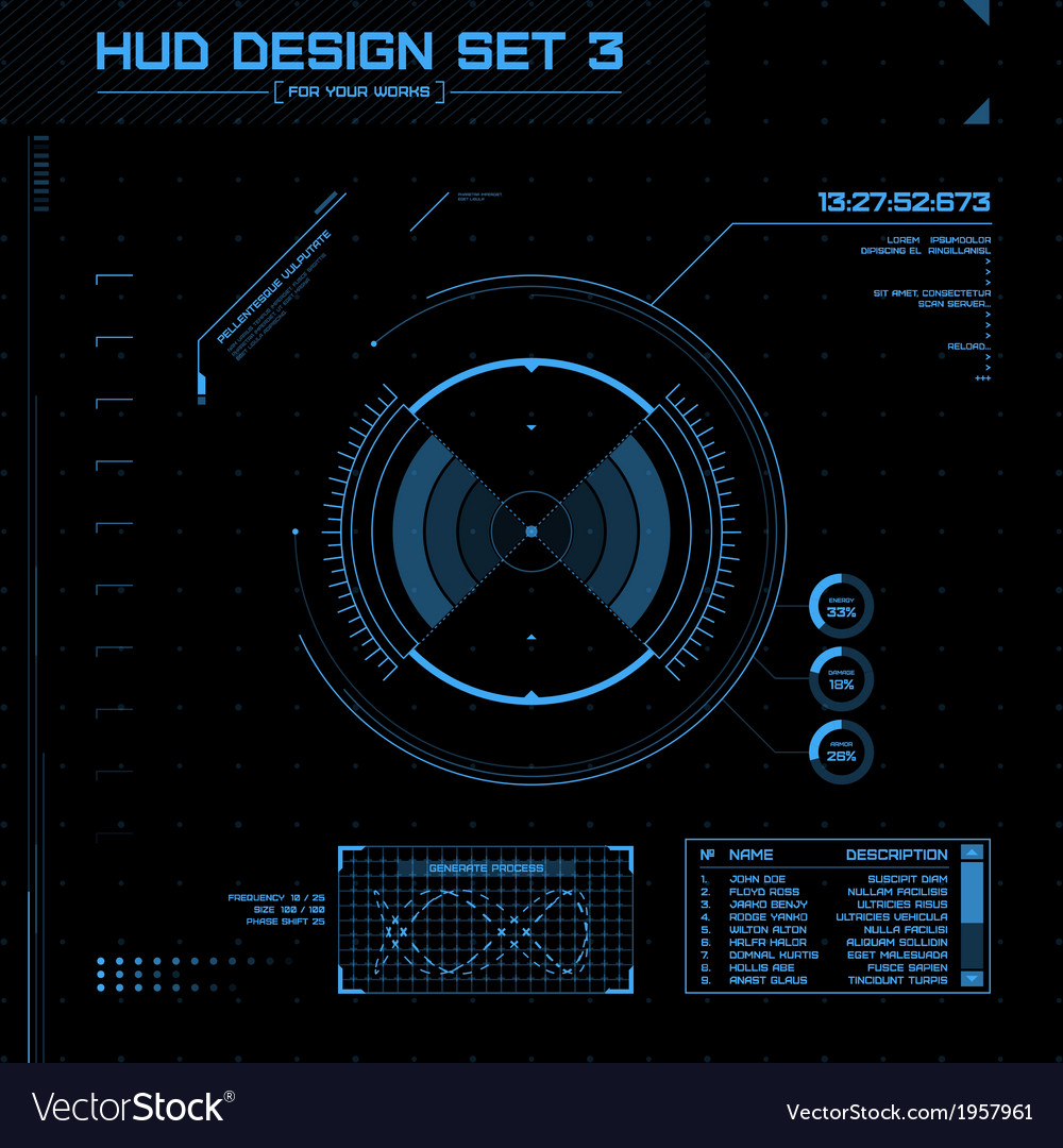 Hud and gui set futuristic user interface vector