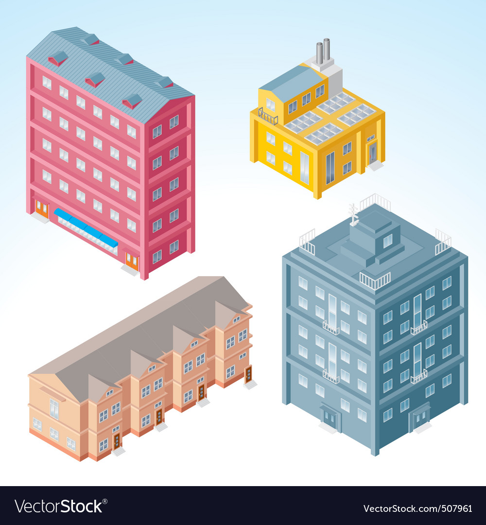 Isolated isometric buildings 2 vector | Price: 1 Credit (USD $1)