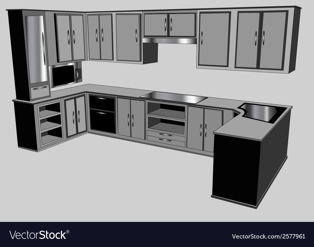 Kitchen counter vector | Price: 1 Credit (USD $1)