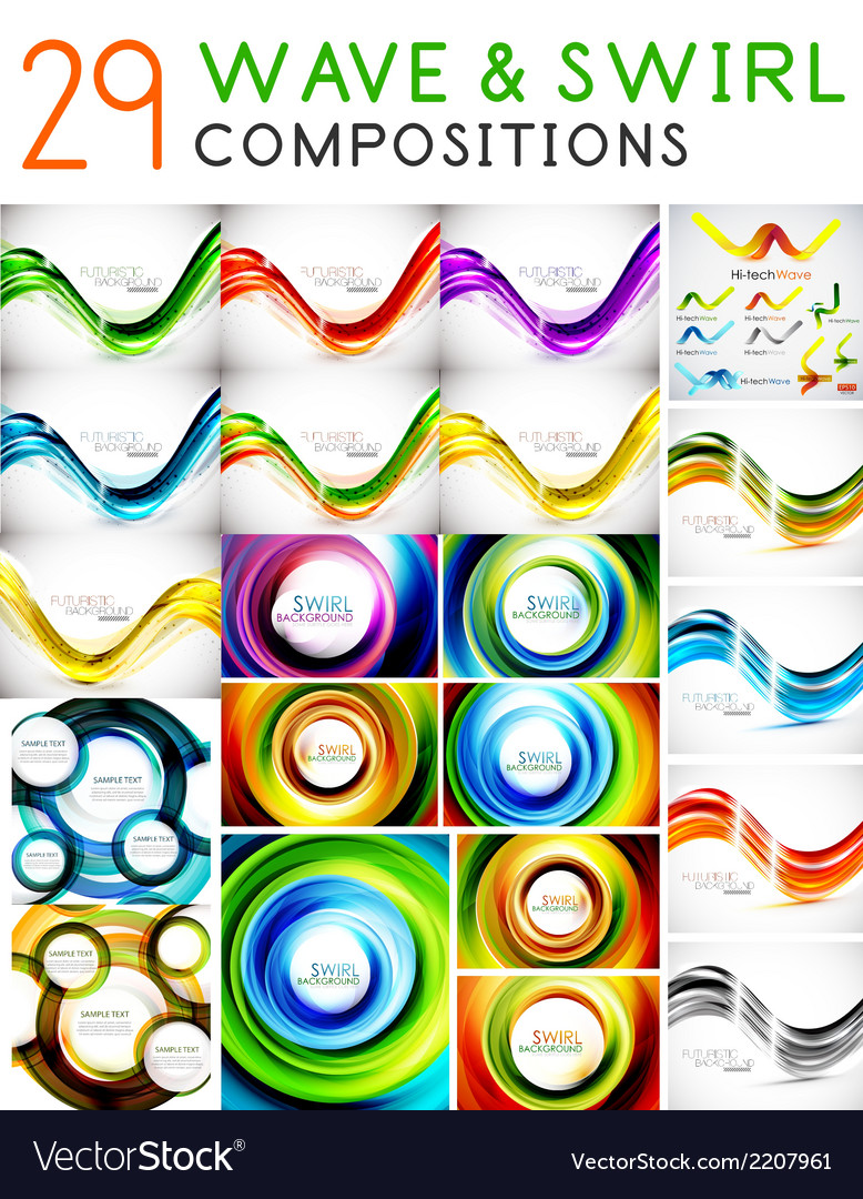 Mega set of waves and swirls - design templates vector | Price: 1 Credit (USD $1)