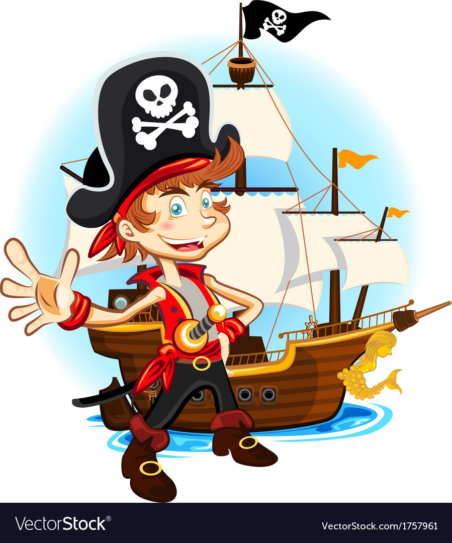 Pirate kid and his big war ship vector | Price: 3 Credit (USD $3)