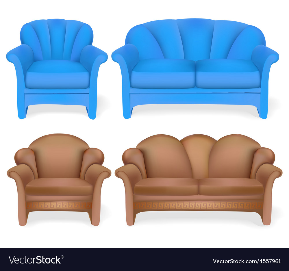 Set of upholstered furniture sofa chair vector | Price: 1 Credit (USD $1)