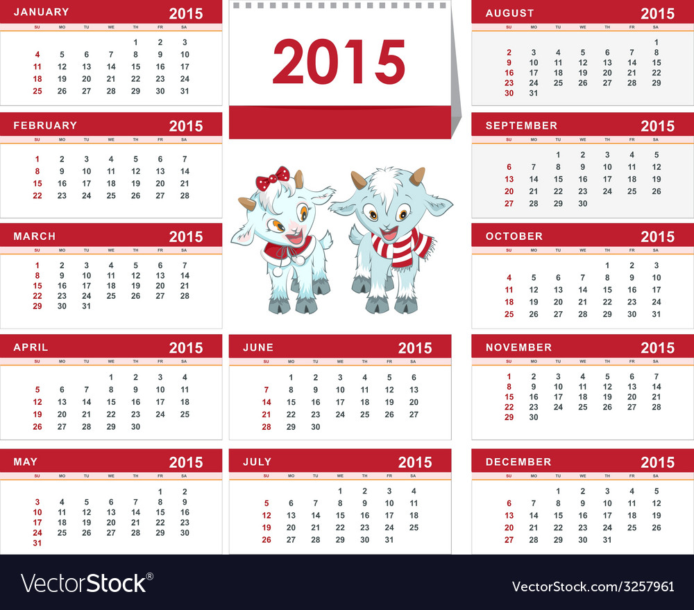 Template desk calendar for 2015 two little kid vector | Price: 1 Credit (USD $1)