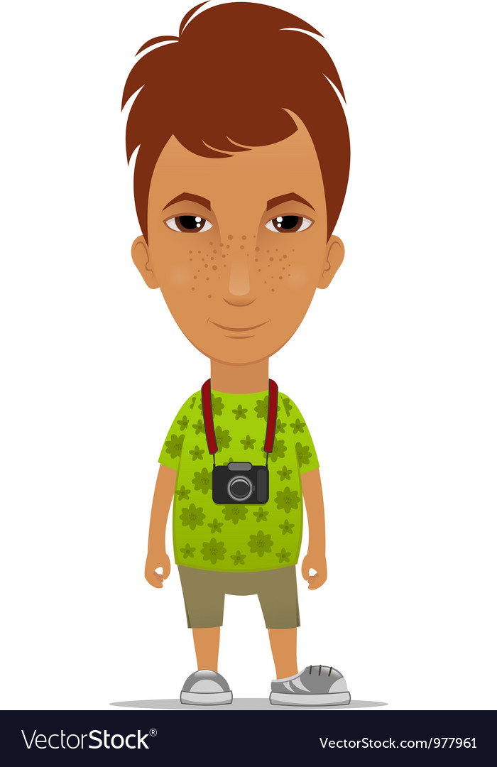 Tourist with a camera vector | Price: 3 Credit (USD $3)