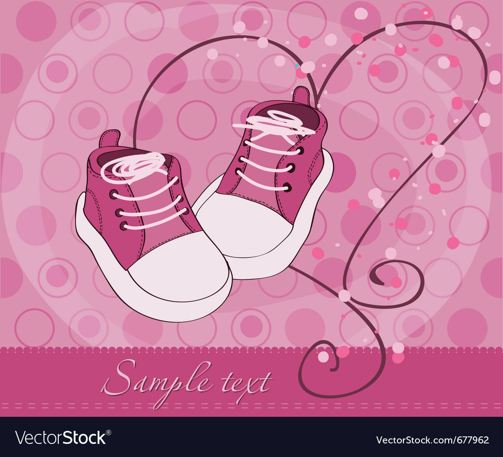 Baby girl shoes arrival card vector | Price: 1 Credit (USD $1)
