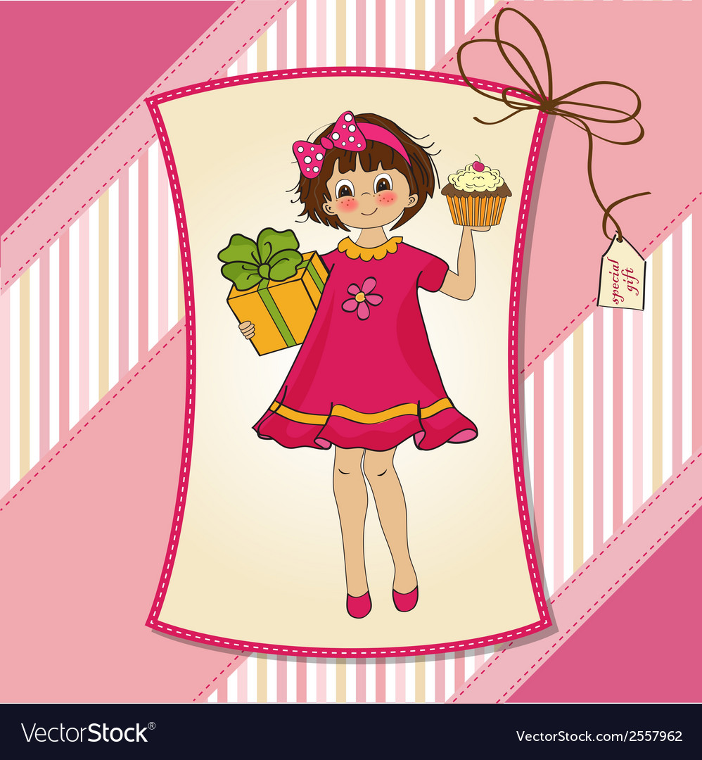 Birthday greeting card with girl and big cupcake vector | Price: 1 Credit (USD $1)