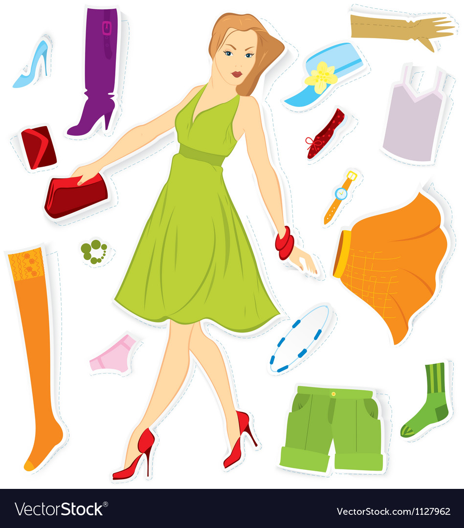 Clothes sticker and girl vector | Price: 1 Credit (USD $1)