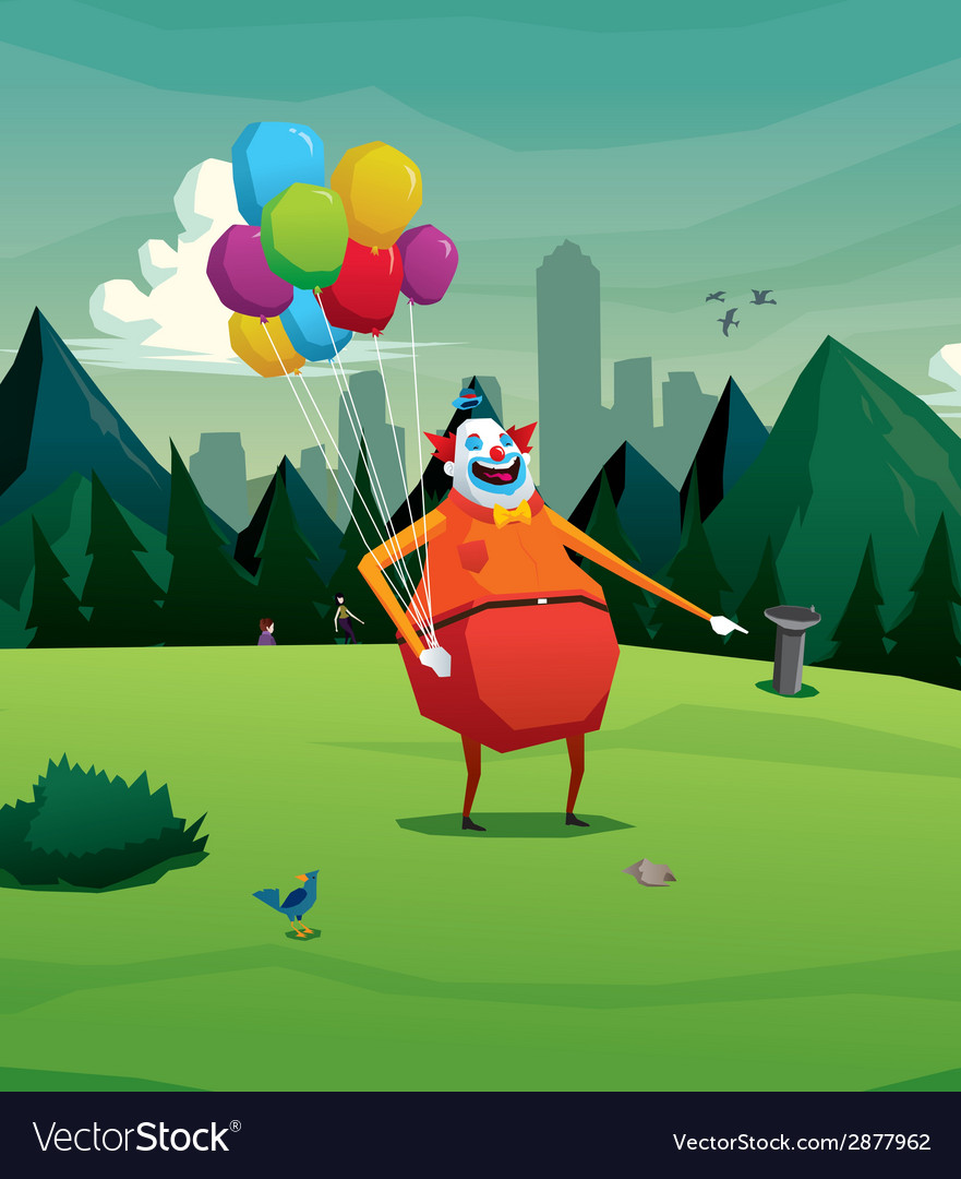 Clown in park laughing vector | Price: 1 Credit (USD $1)
