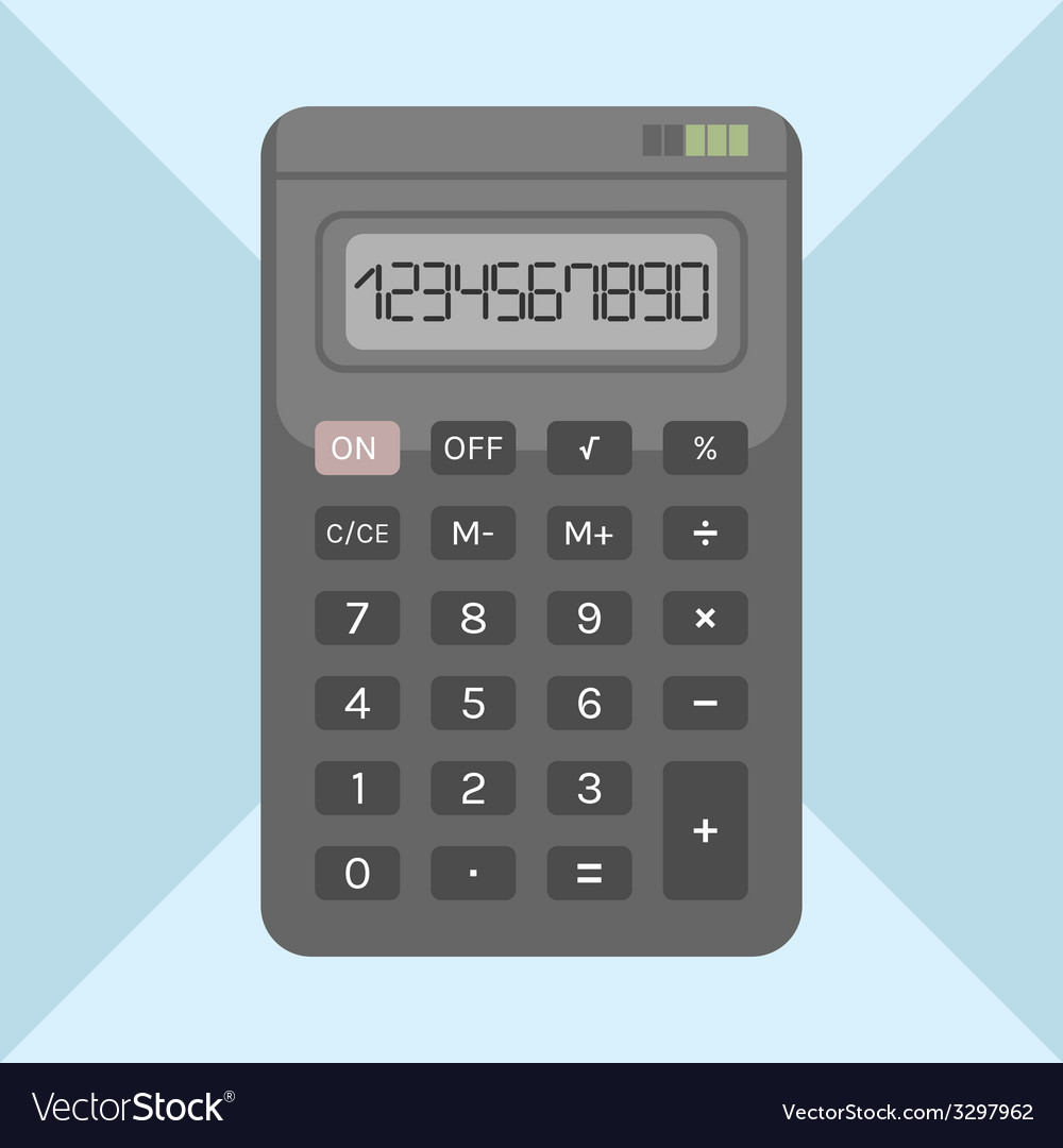 Flat calculator on background object for design vector | Price: 1 Credit (USD $1)