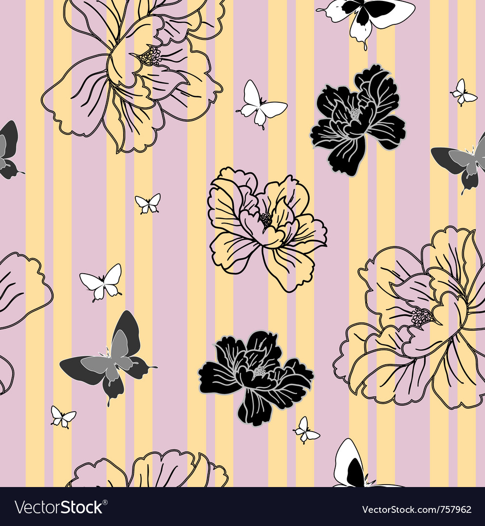 Floral butterfly wallpaper vector | Price: 1 Credit (USD $1)
