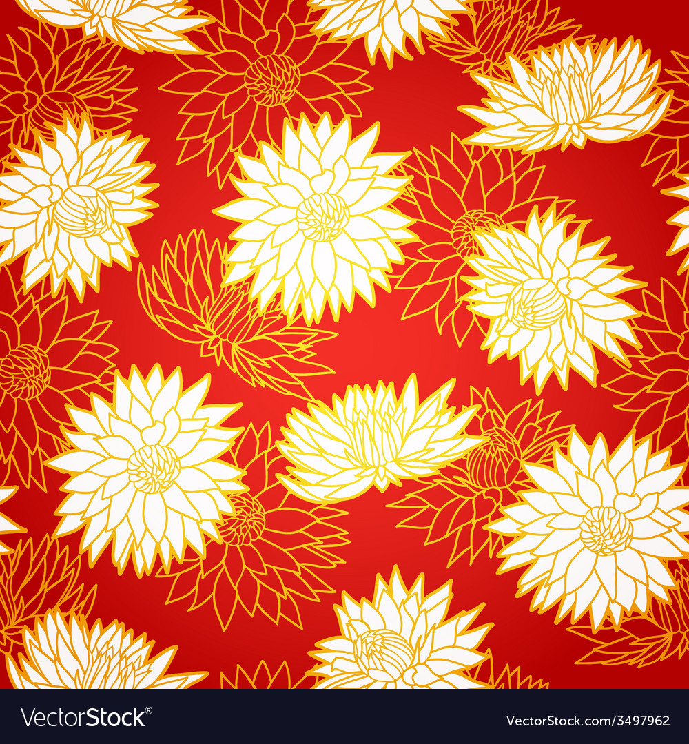 National chinese seamless pattern with chrysanthem vector | Price: 1 Credit (USD $1)