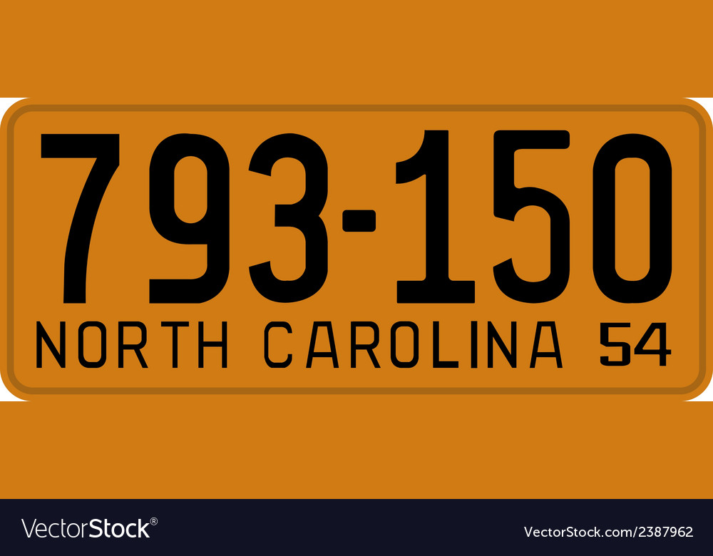 North carolina 1954 license plate vector | Price: 1 Credit (USD $1)