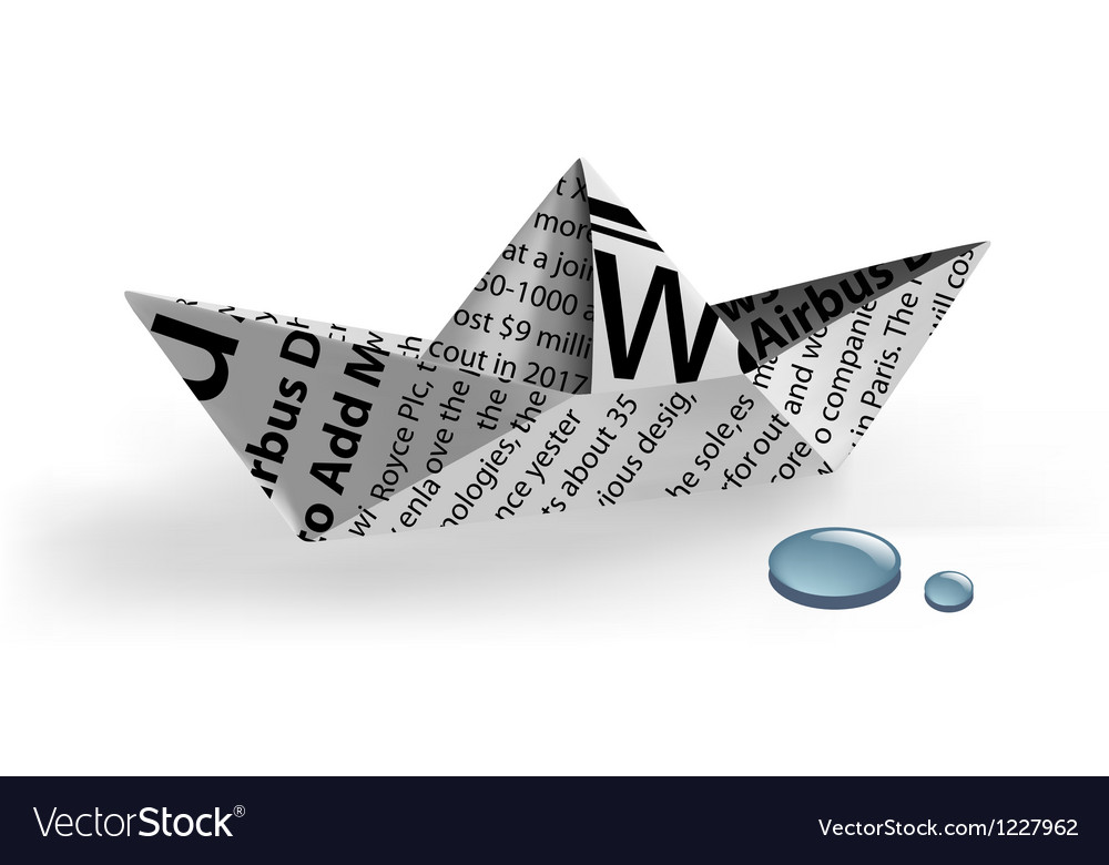 Paper ship with water drops vector | Price: 1 Credit (USD $1)